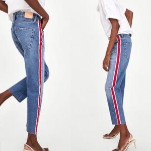 Zara High Rise Straight Leg Ankle Stripe Jeans